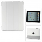 Stylish Super Thin Flip-open Protective PU Leather Case w/ Stand for iPad 3 / 4 - White