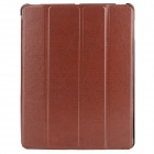 Stylish Flip-open Protective PU Leather Case w/ Stand for Ipad 3 / 4 - Brown