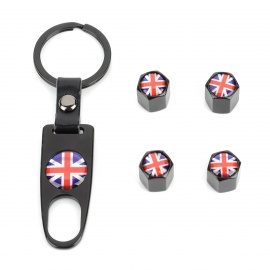 The Union Jack Pattern Stainless Steel Car Tire Valve Caps + Key Ring Set - Black + Blue + Red
