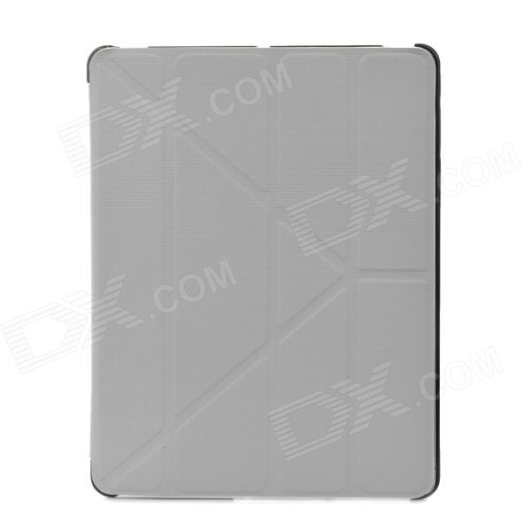 Checked Style Transformable Protective PU Leather Case for Ipad 3 / 4 - Grey cute faerie pattern protective pu leather case cover stand for ipad air green