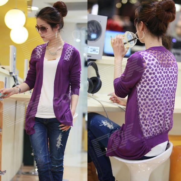 Women's Fashion Candy Long Sleeve Lace Knitting Cardigan - Purple