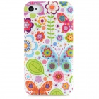 Fashionable Cartoon Flower Pattern Protective Plastic Back Case for Iphone 4S / 4 - Multicolored