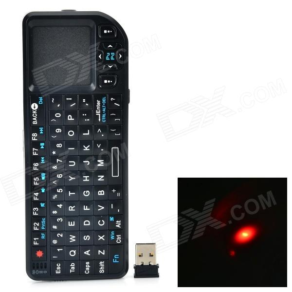 iPazzport KP-810-10 Mini 2.4G Wireless 72-Keys Keyboard Touchpad Presenter Combo - Black