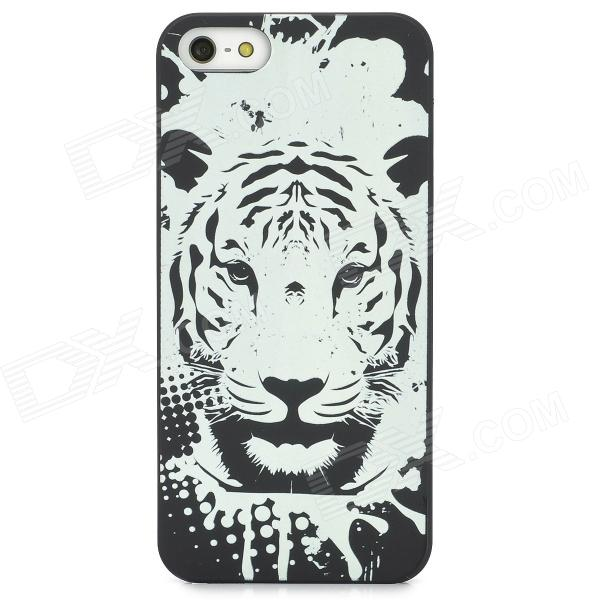 Glow-in-the-Dark Relief Tiger Style Protective Plastic Back Case for Iphone 5 - Black tiger in the smoke