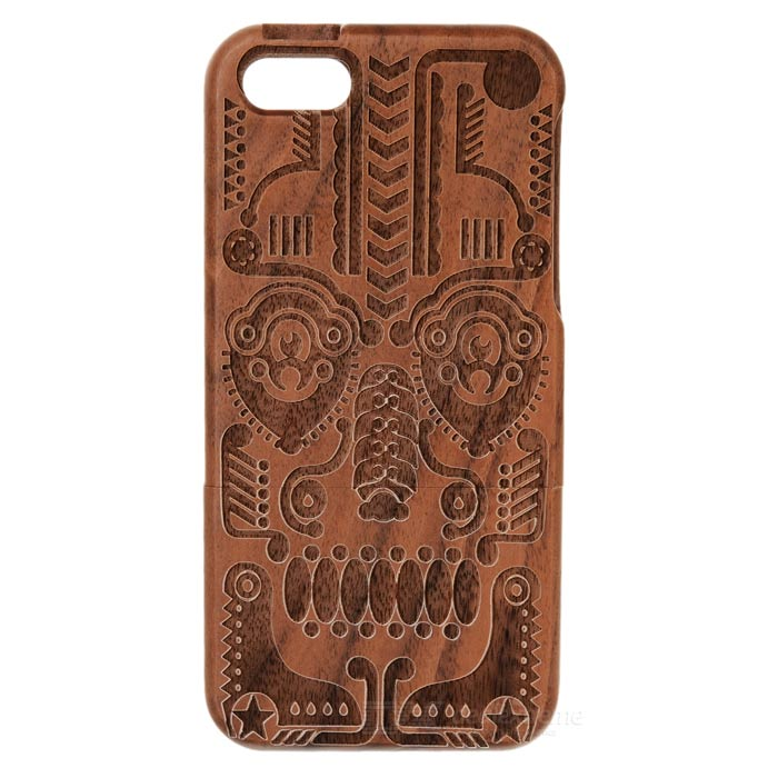 Totem Pattern Protective Wooden Back Case for Iphone 5 - Brown + Black