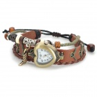 Heart Shape Dial Cow Split Leather Winding Digital Watch for Women - Brown (1 x AG4)