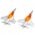 Jet Fighter Shape Car Side Turn Light Cover - Silver + Yellow (2 PCS)