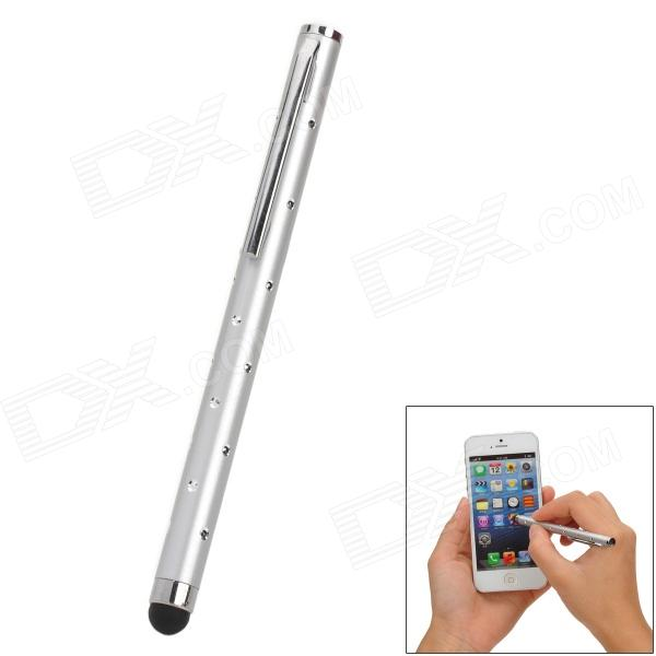 Rhinestone Ballpoint Pen Style Capacitive Screen Stylus Pen w/ Clip for Iphone / Ipad - Silver
