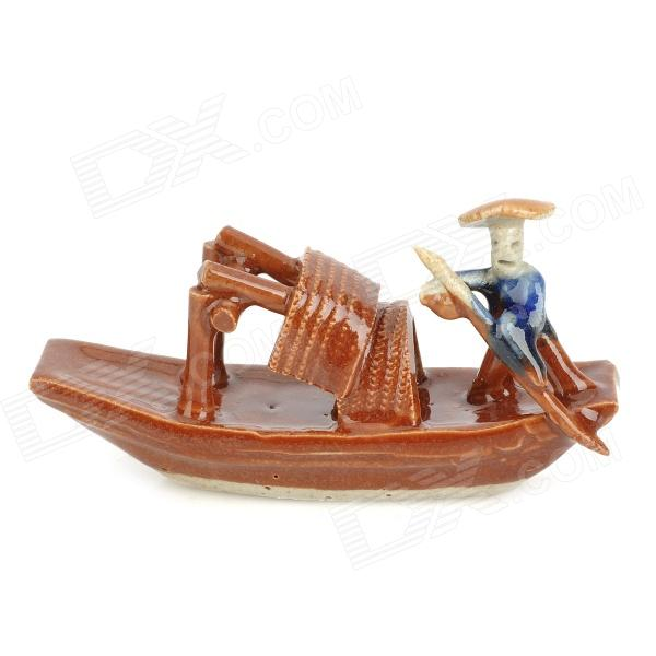 TC091 Retro Ceramic Fishing Boat Aquarium Landscape for Fish Tank - Brown