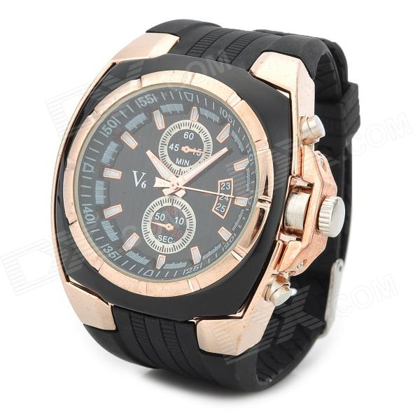 Men's Silicone Band Big Square Dial Quartz Wrist Watch - Black + Golden (1 x 377) men s silicone band big square dial quartz wrist watch black golden 1 x 377