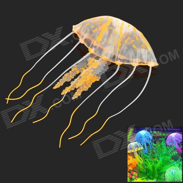 02 Aquarium Lifelike Glowing Effect Jellyfish - Yellow + Translucent