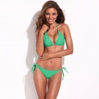 RELLECIGA Sexy Figure-Shaping String Push-Up Bikini Swimsuit - Green (Size L)