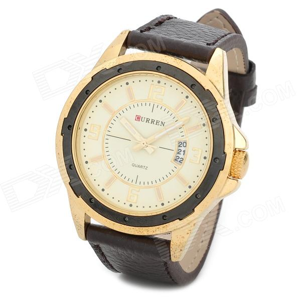 CURREN 8124 Water Resistant PU Leather Band Quartz Wrist Watch - Coffee + Golden (1 x 626) curren 8019 water resistant electroplating tungsten steel quartz wrist watch black 1 x 626