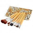 12-in-1 Cosmetic Brush Set w/ Fashion Leopard Pattern Carrying Bag -