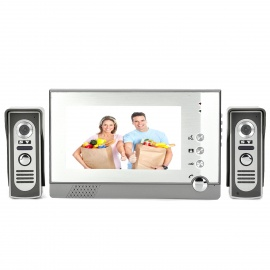 """805M21 7"""" LCD Screen 2-to-1 Water Resistant Night Vision Wired Video Door Phone Bell - Gray + White"""