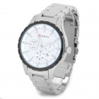 CURREN 8130 Fashion Electroplating Alloy Band Quartz Wrist Watch for Men - Silver + White (1 x 626)