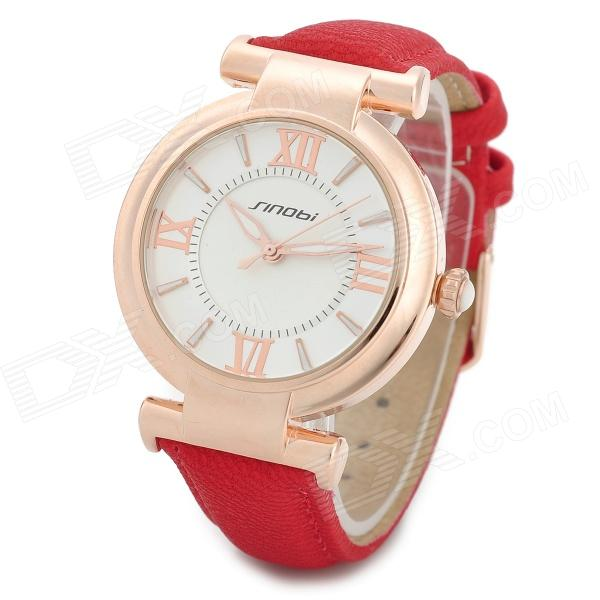 SINOBI 9458 Fashion PU Leather Band Round Glass Dial Quartz Wrist Watch - Red + Golden (1 x 626) multi faceted glass large dial wrist watch with pu leather band classic style watches women wrist quartz watch watch female 6 47