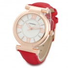 SINOBI 9458 Fashion PU Leather Band Round Glass Dial Quartz Wrist Watch - Red + Golden (1 x 626)