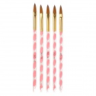 Nail Art Sable Acrylic Brush Pen - Pink + Transparent + Golden (5 PCS)