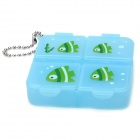 G-672 Cartoon 4-Compartment Medicine Pill Case Box - Translucent Blue