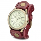 JINGYI Stylish Roma Number Dial PU Leather Quartz Watch for Women - Wine Red + Bronze (1 x LR626)