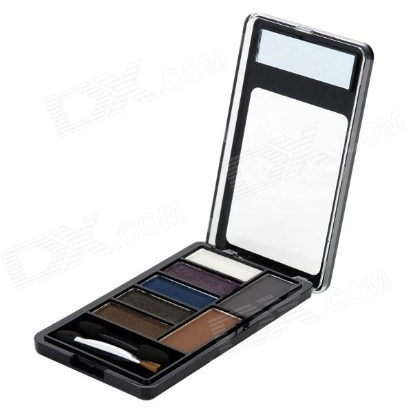 LOVE ATTI AT6801-02 Cosmetic Five-Color Eye Shadow Powder + 2-Color Eyebrow Powder Palette w/ Brush