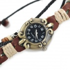 Vintage Style Women's Cow Split Leather Band Zinc Alloy Dial Digital Wrist Watch - Brown (1 x AG4)