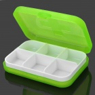 G-662 6-Compartment Plastic Medicine / Pill Case Box - Translucent Green + White