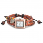 Women's Square Dial Cow Split Leather Winding Digital Wrist Watch - Brownish Red (1 x AG4)