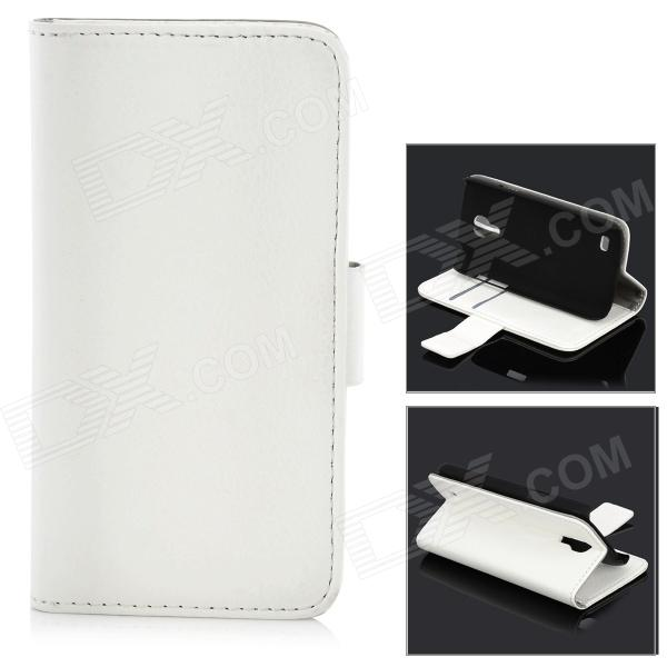 Fashionable Flip-open Protective PU Leather Case w/ Holder + Card Slot for Samsung S4 Mini - White protective flip open pc pu leather case w holder card slot for iphone 5 5s black