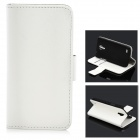 Fashionable Flip-open Protective PU Leather Case w/ Holder + Card Slot for Samsung S4 Mini - White
