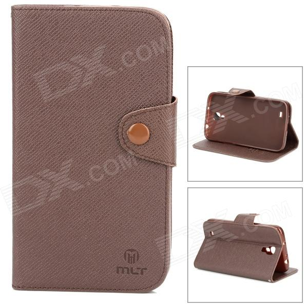 MLT LX9200 Stylish Non-slip Flip-open PU Leather Case w/ Holder for Samsung i9200 - Brown