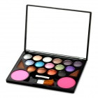 Tragbare 15-Color Kosmetik Make-up Lidschatten w / Brow Powder Rouge Palette - Bunt