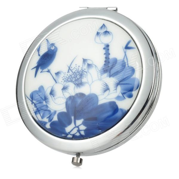 Chinese Lotus Pond Style Ceramic Folding Dual-Side Mirror - White + Silver + Deep Blue