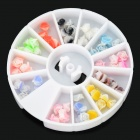 3D Rose Style Fimo Nail Art Pieces Box - Multicolored (12-Grid)