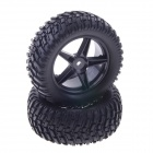 90mm Rubber Tyres Set for 1/10 RC On-Road Car - Black (2 PCS)