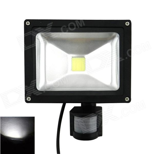 20W 1800lm 6500K Cool White PIR Motion Sensor LED Flood Light - BlackFloodlights<br>Model20W PIRMaterialDie-casting AluminumForm  ColorBlackQuantity1 DX.PCM.Model.AttributeModel.UnitPower20WRated VoltageAC 85-265 DX.PCM.Model.AttributeModel.UnitConnector TypeOthers,WireColor BINCold WhiteEmitter TypeLEDTotal Emitters1Actual Lumens1500~1800 DX.PCM.Model.AttributeModel.UnitColor Temperature6500KDimmableNoBeam Angle120 DX.PCM.Model.AttributeModel.UnitWavelengthNoOther FeaturesWaterproof: IP65;<br>CPU: Walsin 35 chips; <br>Beam angle: 120 degree; <br>Operation temperature: -10C~+50C; <br>Fixture material: Aluminum; <br>Detection range: 180 degree; <br>Detection distance: 12 meters; <br>Working humidity: less than 93% RH; <br>Delay time: 5 seconds to 6 minutes; <br>Installation height: 1.8m~2.5m; <br>Life: &gt; 50,000 hoursPacking List1 * LED light (20cm-Cable)<br>