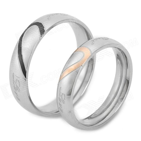 Heart Style Titanium Steel Couple Lovers Rings - Silver