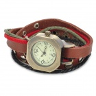 Fashionable Retro Style Women's Leather Bracelet Digital Analog Wrist Watch - Brown + Cinnamon