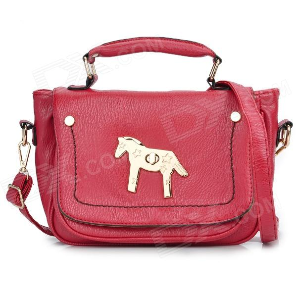 ZEA-RB21 Horse Style Buckle Women's PU One-Shoulder Handbag - Red