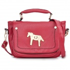 Horse Style Buckle Women's PU One-Shoulder Handbag - Red