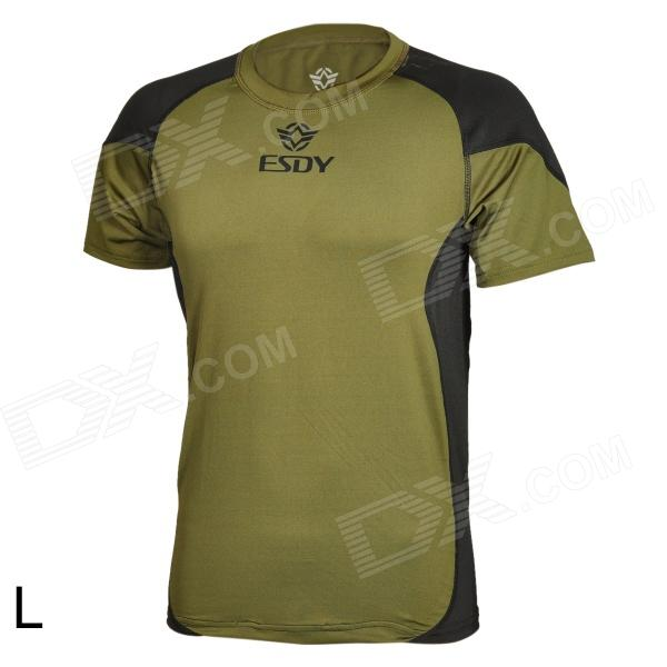 ESY Outdoor Sports Men's Quick Drying Short Sleeves T-shirt - Army Green + Black (Size-L)