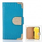Fashionable Crystal Inlaid Scale Pattern Flip-open PU Leather Case  for iPhone 4S / 4 - Blue