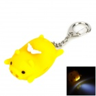 Cute Lying Pig Style 2-LED White Flashlight Keychain - Yellow (3 x AG10)
