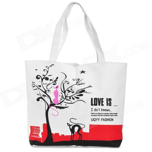 Artistic Tree Pattern Casual Canvas One-Shoulder Bag - Red + Black + White