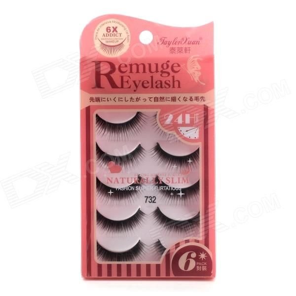 Jaylor Xuan 732 Fashionable Makeup Darkened Curled Artificial Eyelashes - Black (6 Pairs)