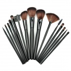 15-in-1 Cosmetic Makeup Brushes Set - Black