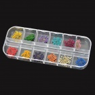 Decorative Flower Style 12-in-1 Plastic Nail Art Pieces Set - Multicolored