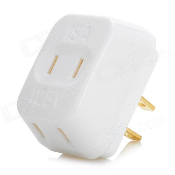 Mini 3-in-1 Portable Power Adapter Converter Wall Socket - White + Golden (US Plug)