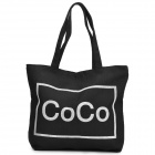 """CoCo"" Pattern Casual Canvas One-Shoulder Bag - Black"